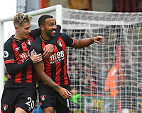 Callum Wilson of AFC Bournemouth celebrates scoring the first goal with David Brooks of AFC Bournemouth during AFC Bournemouth vs Manchester United, Premier League Football at the Vitality Stadium on 3rd November 2018