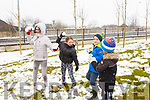In Sundays Well enjoying the snow fight on Friday afternoon last are Sarah Maunsell, Kneeling l-r, David Slattery and Sarah Maunsell. Maja Cieslak, Ryan McCord and Brendan Maunsell,