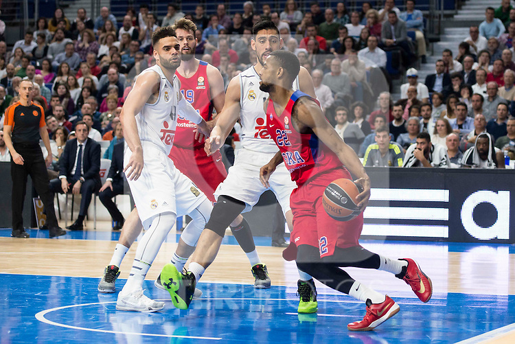Real Madrid's player Jeffery Taylor and CSKA Moscu's player Higgins during the match between Real Madrid and CSKA Moscu of Turkish Airlines Euroleague at Barclaycard Center in Madrid, March 02, 2016. (ALTERPHOTOS/BorjaB.Hojas) during the match between Real Madrid and CSKA Moscu of Turkish Airlines Euroleague at Barclaycard Center in Madrid, March 02, 2016. (ALTERPHOTOS/BorjaB.Hojas) and CSKA Moscu's player XXX during the match between Real Madrid and CSKA Moscu of Turkish Airlines Euroleague at Barclaycard Center in Madrid, March 02, 2016. (ALTERPHOTOS/BorjaB.Hojas) during the match between Real Madrid and CSKA Moscu of Turkish Airlines Euroleague at Barclaycard Center in Madrid, March 02, 2016. (ALTERPHOTOS/BorjaB.Hojas)