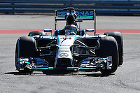 Lewis Hamilton of Mercedes AMG Petronas F1 driving (44) F1 WO5 Hybrid during first practice session of  2014 Formula 1 United States Grand Prix, Friday, October 31, 2014 in Austin, Tex. (Mo Khursheed/TFV Media via AP Images)