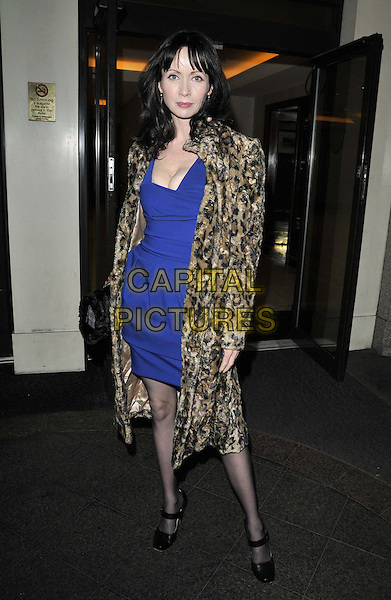 Lysette Anthony.attended the Rhys Daniels Trust Butterfly Ball, Lancaster London hotel, Lancaster Terrace, London, England, UK, .19th November 2011..full length blue dress leopard print coat  fur .CAP/CAN.©Can Nguyen/Capital Pictures.