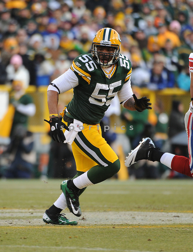 DESMOND BISHOP, of the Green Bay Packers, in action during the Packers game against the New York Giants on January 15, 2012 at Lambeau Field in Green Bay, WI. The Giants beat the Packers 37-20.