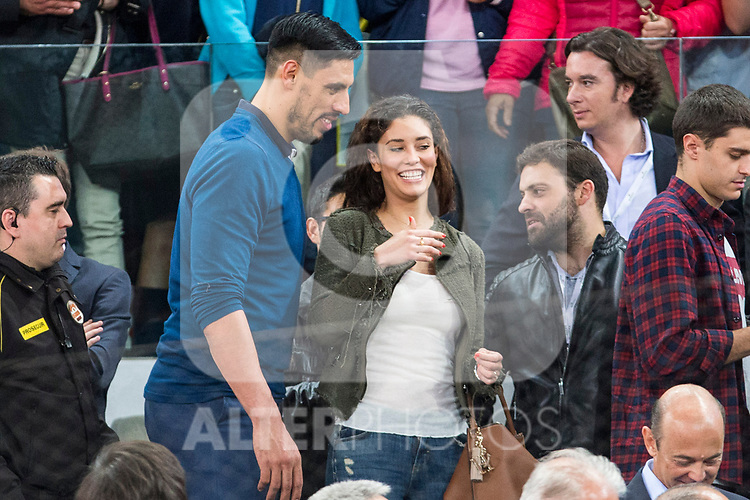 Gustavo Ayon with his wife during the Mutua Madrid Open Tennis 2017 at Caja Magica in Madrid, May 12, 2017. Spain.