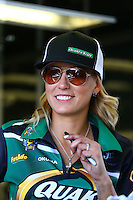 Feb 28, 2016; Chandler, AZ, USA; NHRA top fuel driver Leah Pritchett during the Carquest Nationals at Wild Horse Pass Motorsports Park. Mandatory Credit: Mark J. Rebilas-