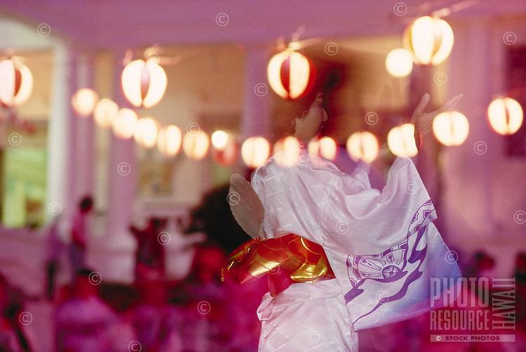 Obon Festival, bon dance at Buddhist temple,