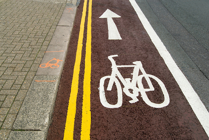 A new cycle path marked on a road in Brighton, England.