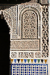 Decorative tiles in the Bahia Palace in Marrakesh, Morocco.