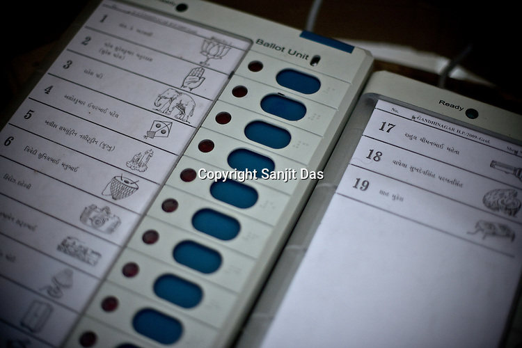 The electronic polling machine in a polling booth in Government school building in Ghuma village of Rural Ahmedabad, Gujarat India. About 49 per cent of the 3.65 crore electorate today exercised their franchise in the single phase polling in the state's 26 Lok Sabha constituencies on April 30th 2009.