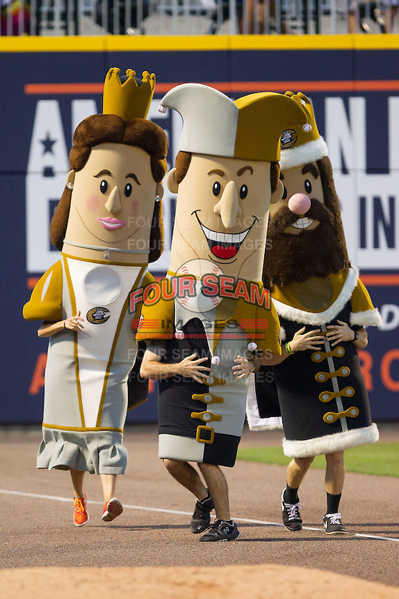 """(L-R) """"Queen Charlotte"""", """"Jerry the Jester"""" and """"King Mecklenberg"""" compete in the """"Royalty Race"""" between innings of the International League game between the Louisville Bats and the Charlotte Knights at BB&T Ballpark on June 26, 2014 in Charlotte, North Carolina.  The Bats defeated the Knights 6-4.  (Brian Westerholt/Four Seam Images)"""