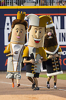 "(L-R) ""Queen Charlotte"", ""Jerry the Jester"" and ""King Mecklenberg"" compete in the ""Royalty Race"" between innings of the International League game between the Louisville Bats and the Charlotte Knights at BB&T Ballpark on June 26, 2014 in Charlotte, North Carolina.  The Bats defeated the Knights 6-4.  (Brian Westerholt/Four Seam Images)"