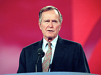 ***FILE PHOTO*** George H.W. Bush Has Passed Away<br /> Former United States President George H.W. Bush speaks at the 1996 Republican National Convention at the San Diego Convention Center in San Diego, California on August 12, 1996.  CAP/MPI/RS<br /> &copy;RS/MPI/Capital Pictures
