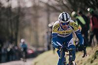 Edward Planckaert (BEL/Sport Vlaanderen-Baloise) up the Molenberg<br /> <br /> Omloop Het Nieuwsblad 2018<br /> Gent &rsaquo; Meerbeke: 196km (BELGIUM)
