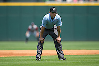 Umpire Derek Mollica during the International League game between the Gwinnett Braves and the Charlotte Knights at BB&T BallPark on May 22, 2016 in Charlotte, North Carolina.  The Knights defeated the Braves 9-8 in 11 innings.  (Brian Westerholt/Four Seam Images)