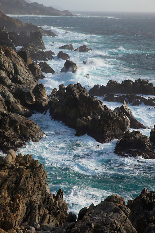 Garapata SP on Big Sur Hwy 1 has hundreds of offshore rocks with huge waves breaking in winter.