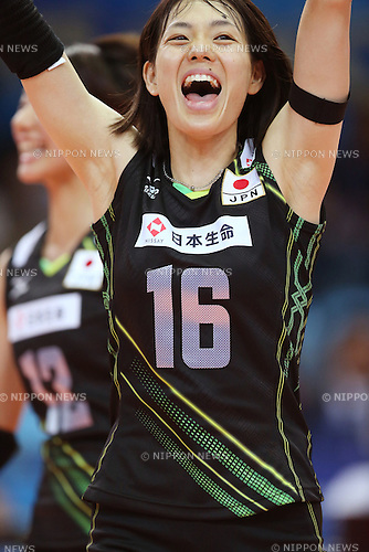 Saori Sakota (JPN), OCTOBER 5, 2014 - Volleyball : Saori Saikota of Japan reacts during the FIVB Volleyball Women's World Championship Second Round Pool E match between Dominican Republic 2-3 Japan at palaflorio in Bari, Italy. (Photo by Takahisa Hirano/AFLO)