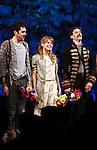 Adam Chandler-Berat, Celia Keenan-Bolger, Christian Borle.during the Broadway Opening Night Performance Curtain Call for 'Peter And The Starcatcher' at the Brooks Atkinson Theatre on 4/15/2012 in New York City.