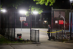The NYPD investigates a shooting at the Boulevard Houses (NYCHA) on July 17, 2020 in the Brooklyn borough of New York City.  Photograph by Michael Nagle