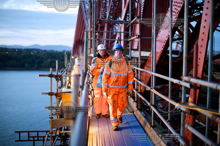 Over 4,000 tonnes of scaffolding was used to enable safe access to the bridge. All of it was assembled and disassembled by hand, on the 125 year old Forth Rail Bridge which spans the river Forth near Edinburgh. Network Rail, the operator of the rail track that leads over the bridge, has spent 10 years and GBP 130 million repainting the 230,000 square metres of steel and 6.5 million rivets on the bridge. The iconic red paint used on the bridge is made to match the red-oxide paint used over 100 years ago. The bridge will now need no further painting for at least 20 years.