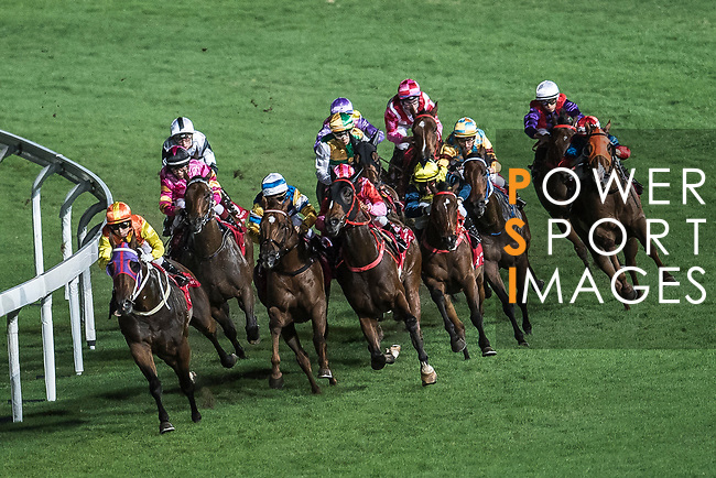 Jockey #7 Matthew Chadwick riding California Fortune (L) leads the race 7 of Hong Kong Racing at Happy Valley Race Course on November 29, 2017 in Hong Kong, Hong Kong. Photo by Marcio Rodrigo Machado / Power Sport Images