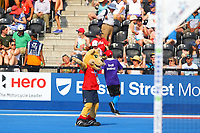 England mascot dances to ymca during the half time break during the Hockey World League Semi-Final match between England and Argentina at the Olympic Park, London, England on 18 June 2017. Photo by Steve McCarthy.