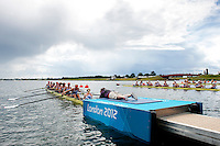 29.07.2012. Windsor, England. The Great Britain Womens Eight crew prepare at the start of Heat 1 in which they will finish 3rd to progress to a Repechage during the Rowing on Day 2 of the London 2012 Olympic Games at the Olympic Rowing Centre at Eton Dorney.