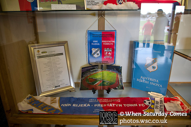 Prestatyn Town 0 Port Talbot Town 0, 19/10/2013. Bastion Gardens, Welsh Premier League. Souvenirs of the home team's Europa League match against HNK Rijeka in a display cabinet at Bastion Gardens prior to the match between Prestatyn Town and visitors Port Talbot Town in the Welsh Premier League. Prestatyn Town were Welsh Cup winners in 2013. The match ended goalless and was watched by 211 spectators. Photo by Colin McPherson.