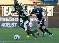 Lovel Palmer of Timbers in action during the game against the Earthquakes at Buck Shaw Stadium in Santa Clara, California on August 6th, 2011.   San Jose Earthquakes and Portland Timbers tied 1-1.