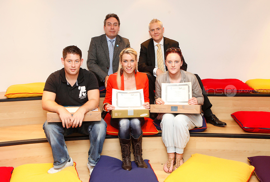 """***NO FEE PIC***.27/09/2011.(L to R) Back Row Mark Kelly Director ICCL (Irish Council for Civil Liberties).Ken Breen Gallagher Shatter Associates .(L to r) Thomas Larkin from Sherrard St Youthreach centre who  recieved 3rd prize for his survey of discrimination in his community,.Lauren Donovan from Sherrard St Youthreach Centre, dublin who won 1st prize for her video montage piece about domestic violence,.Clare King from Kiltimagh who recieved 2nd prize for her piece on Social injustice in the Irish Welfare System .during a """" Your Rights Right  now""""/ Youthreach competition prizegiving award ceremony at the Office of the Ombudsman for Children, Dublin. The competition called on young Youthreach students to express themselves about the important human rights issues affecting their lives..Photo: Gareth Chaney Collins"""
