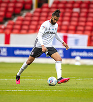 7th July 2020; City Ground, Nottinghamshire, Midlands, England; English Championship Football, Nottingham Forest versus Fulham; Michael Hector of Fulham lines up a shot on goal