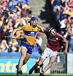 David Fitzgerald of Clare in action against John Hanbury of Galway during their All-Ireland semi-final at Croke Park. Photograph by John Kelly.