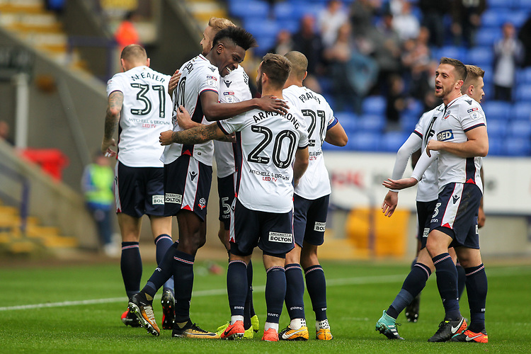 Bolton Wanderers' Sammy Ameobi celebrates scoring his side's first goal with team-mates <br /> <br /> Photographer Andrew Kearns/CameraSport<br /> <br /> The EFL Sky Bet Championship - Bolton Wanderers v Sheffield Wednesday - Saturday 14th October 2017 - Macron Stadium - Bolton<br /> <br /> World Copyright &copy; 2017 CameraSport. All rights reserved. 43 Linden Ave. Countesthorpe. Leicester. England. LE8 5PG - Tel: +44 (0) 116 277 4147 - admin@camerasport.com - www.camerasport.com