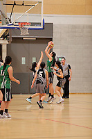 Action from the Wellington College Girls Basketball Premier Final between Wellington Girls College and St Oran's College held at Te Rauparaha Arena, Porirua, New Zealand on 30 August 2012. Photo: john.mathews@xtra.co.nz