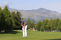Paul Dunne (IRL) putts on the 10th green during Thursday's Round 1 of the 2017 Omega European Masters held at Golf Club Crans-Sur-Sierre, Crans Montana, Switzerland. 7th September 2017.<br /> Picture: Eoin Clarke | Golffile<br /> <br /> <br /> All photos usage must carry mandatory copyright credit (&copy; Golffile | Eoin Clarke)