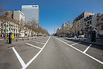 BRUSSELS - BELGIUM - 27 March 2020 --  COVID-19 lockdown. — Empty Place Louise. The normally full parking area is totally empty. — PHOTO: Juha ROININEN / EUP-IMAGES