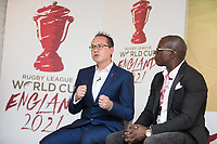 Picture by Charlie Forgham-Bailey/SWpix.com 13/07/2017 - International Rugby League - Rugby League World Cup 2021 - RLWC2017 Presentation at ALTITUDE LONDON, SKYLOFT Millbank Tower, London - The panel L-R Jon Dutton, Martin Offiah
