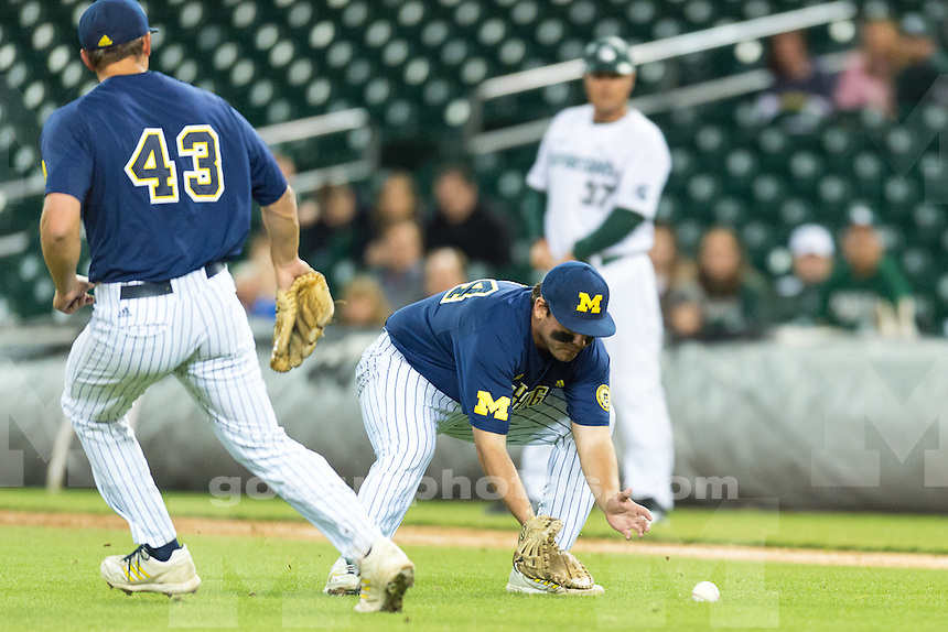 The University of Michigan baseball team; 4-2,loss to Michigan State University at Comerica Park in Detroit, Mich. on April 14, 2015.