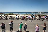 Peloton riding along the coast. <br /> <br /> Stage 5: Lorient &gt; Quimper (203km)<br /> <br /> 105th Tour de France 2018<br /> &copy;kramon