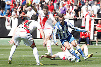 Rayo Vallecano's Anaitz Arbilla (l), Roberto Trashorras (2l) and Alejandro Galvez (b) and Real Sociedad's Antoine Griezman during La Liga match.April 14,2013. (ALTERPHOTOS/Acero)
