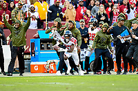 Landover, MD - November 4, 2018: Atlanta Falcons defensive back Blidi Wreh-Wilson (33) knocks down a pass in tented for Washington Redskins tight end Vernon Davis (85) and it's intercepted by Atlanta Falcons strong safety Damontae Kazee (27) during game between the Atlanta Falcons and the Washington Redskins at FedEx Field in Landover, MD. The Falcons defeated the Redskins 38-13. (Photo by Phillip Peters/Media Images International)