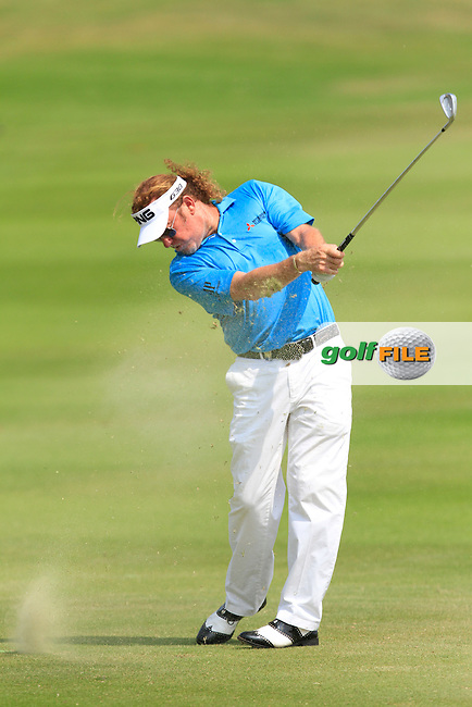 Miguel Angel Jimenez (ESP) on the 9th fairway during Round 4 of the True Thailand Classic at the Black Mountain Golf  Club on Sunday 15th February 2015.<br /> Picture:  Thos Caffrey / www.golffile.ie