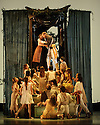 London, UK. 25.03.2016. balletLORENT presents SNOW WHITE, as part of the Family Weekend, at Sadler's Wells. Artistic Director, Liv Lorent (MBE), directs and choreographs. Set design is by Phil Eddols, with lighting design by Malcolm Rippeth, and costume design by Libby Everall. balletLORENT's 11 professional dancers are joined by a cast of 12 local children from Vittoria PRimary School in the Islington Borough, aged 6 - 9 years old. Picture shows: Caroline Reece (Queen), John Kendall (King). Photograph © Jane Hobson.