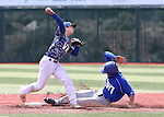 Western Nevada's David Modler turns a double play against College of Souther Nevada at WNC, in Carson City, Nev. on Friday, May 6, 2016. <br />