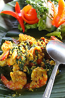 Traditional foods curry prawns Bali Indonesia photos