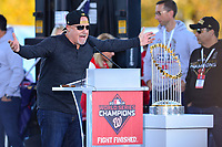 Washington, DC - November 2, 2019: Washington Nationals General Manager & President of Baseball Operations, Mike Rizzo, speaks during a rally for the Washington Nationals in Washington, D.C. November 2, 2019 after the team won the World Series Championship against the Houston Astros.   (Photo by Don Baxter/Media Images International)