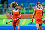 Maria Verschoor #11 of Netherlands and Lidewij Welten #12 of Netherlands prepare for the short corner during Netherlands vs Korea in a Pool A game at the Rio 2016 Olympics at the Olympic Hockey Centre in Rio de Janeiro, Brazil.