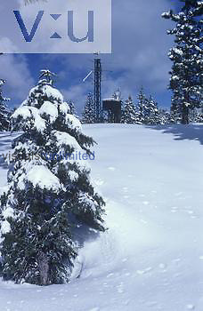 Weather station in a remote Sierra Nevada Mountains location that reports by radio, California, USA.
