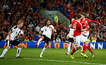 Martin Hinteregger of Austria uses his arm to block a shot from Aaron Ramsey of Wales during the World Cup Qualifying Group D match at the Cardiff City Stadium, Cardiff. Picture date 2nd September 2017. Picture credit should read: Simon Bellis/Sportimage