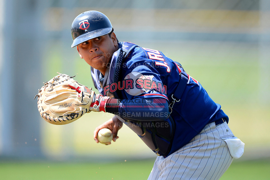 Minnesota Twins catcher Jairo Rodriguez #46 during practice before a minor league Spring Training game against the Baltimore Orioles at Buck O'Neil Complex on March 26, 2013 in Sarasota, Florida.  (Mike Janes/Four Seam Images)