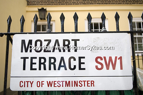 Mozart Terrace London SW1.  Mozart Terrace,  Ebury Street, Mozart lived here in
