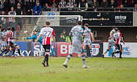 William Boyle of Cheltenham Town (far right) scores his side's first goal during the Sky Bet League 2 match between Cheltenham Town and Grimsby Town at the The LCI Rail Stadium,  Cheltenham, England on 17 April 2017. Photo by PRiME Media Images / Mark Hawkins.